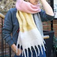 Lisa Angel Ladies' Oversized Block Colour Scarf in Pink, Yellow and Grey