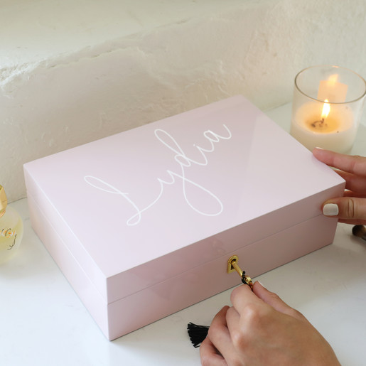 Personalised Luxury Pink Lacquer Lockable Jewellery Box