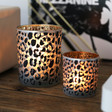 Lisa Angel Leopard Print Glass Candle Holders