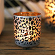 Lisa Angel Small Leopard Print Glass Candle Holder
