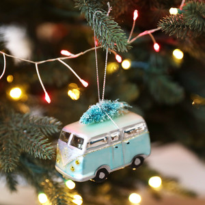 Campervan with Bristly Christmas Tree Bauble