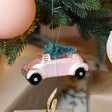 Lisa Angel Pink Car with Bristly Christmas Tree Bauble