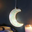 Lisa Angel Hanging Glitter Glass LED Moon Light