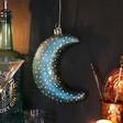 Lisa Angel Battery Powered Hanging Teal Glass LED Moon Light