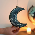 Lisa Angel Personalised Hanging Teal Glass LED Moon Light
