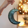 Personalised Name Hanging Teal Glass LED Moon Light