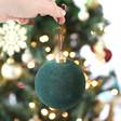 Lisa Angel Large Velvet Green Ornament Bauble