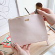 Lisa Angel Pink Personalised kikki.K Leather Clutch with Zip
