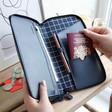 Lisa Angel Navy Personalised kikki.K Leather Travel Wallet with Zip