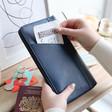Lisa Angel Ladies' Navy Personalised kikki.K Leather Travel Wallet with Zip