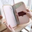 Lisa Angel Pink Personalised kikki.K Leather Travel Wallet with Zip