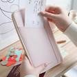Lisa Angel Ladies' Pink Personalised kikki.K Leather Travel Wallet with Zip
