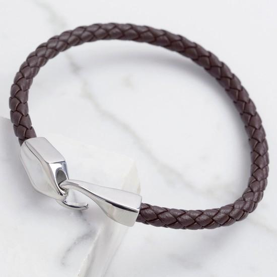 Men's Brown Woven Leather Hook Clasp Bracelet - Large
