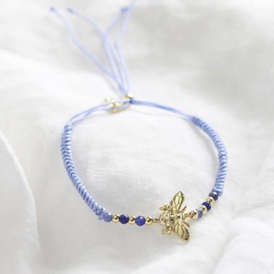 Gold Bee and Blue Cord Bracelet
