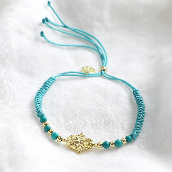 Hamsa Hand and Turquoise Cord Bracelet