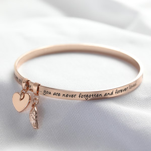 New 'Never Forgotten' Meaningful Word Bangle in Rose Gold