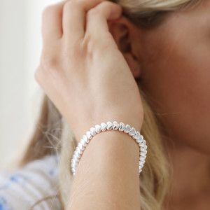 Beaded Hearts Bracelet in Silver
