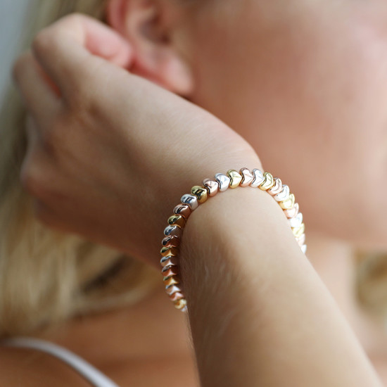 Beaded Hearts Bracelet in Silver, Rose Gold and Gold