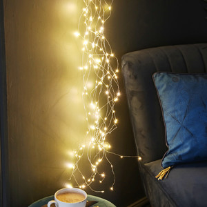 Plug In Warm White LED Cascading String Lights