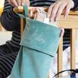 Lisa Angel Green Personalised Embroidered Name Velvet Christmas Stocking
