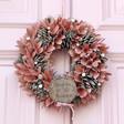 Ladies' Personalised Pink Glitter Pinecone Wreath