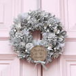 Lisa Angel Personalised Silver Glitter Pinecone Wreath