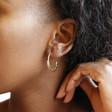 Gold Sterling Silver Aztec Hoop Earrings on Model