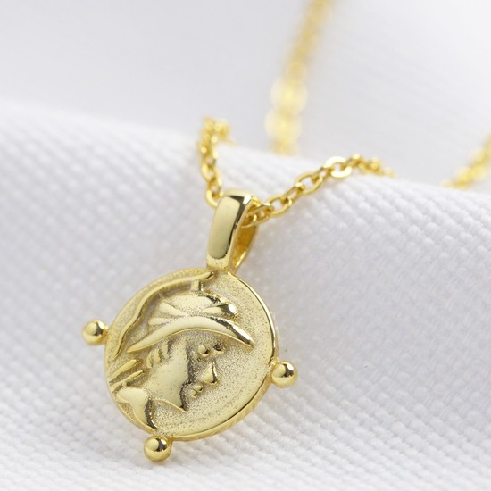 Gold Sterling Silver Tiny Face Coin Necklace