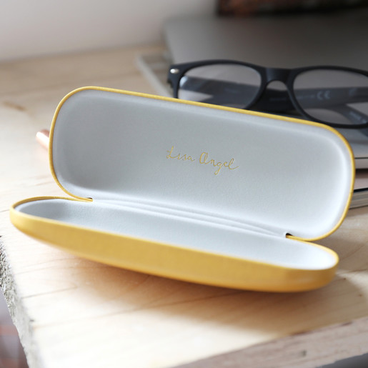 Personalised Leather Effect PU Glasses Case Initial Gift