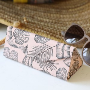 Pink Palm Print Foldable Glasses Case