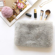 Lisa Angel Ladies' Faux Fur Grey and Pink Pom Pom Pouch