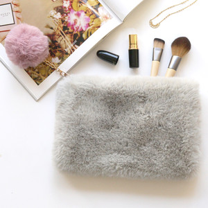Faux Fur Grey and Pink Pom Pom Pouch