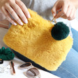 Lisa Angel Bright Faux Fur Mustard and Teal Pom Pom Pouch