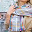 Lisa Angel Ladies' Personalised Embroidered Rainbow and Grey Tartan Blanket Scarf