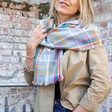 Lisa Angel Big Personalised Embroidered Rainbow and Grey Tartan Blanket Scarf