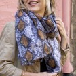 Lisa Angel Ladies' Personalised Embroidered Soft Snakeskin Blanket Scarf