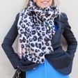 Lisa Angel Ladies' Personalised Embroidered Soft Leopard Print Blanket Scarf on Model