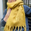 Lisa Angel Ladies' Personalised Embroidered Soft Oversized Scarf in Mustard