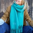 Lisa Angel Ladies' Personalised Embroidered Soft Oversized Scarf in Teal