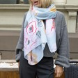 Personalised Lightweight Floral Peony Scarf on Model