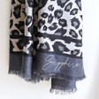 Ladies' Personalised Lightweight Grey Leopard Print Scarf
