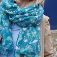 Lisa Angel Ladies' Personalised Lightweight Teal Flamingo Scarf on Model