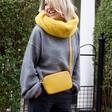 Women's Soft Faux Fur Snood in Mustard on Model