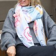 Lightweight Floral Peony Scarf on Model