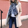 Lisa Angel Ladies' Personalised Lightweight Grey Leopard Print Scarf on Model