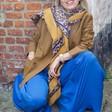 Lisa Angel Ladies' Mustard Border Leopard Print Blanket Scarf