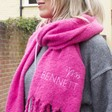 Lisa Angel Ladies' Personalised Embroidered Soft Oversized Scarf in Fuchsia on Model