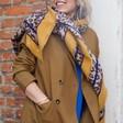 Women's Personalised Mustard Border Leopard Print Blanket Scarf on Model