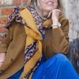 Ladies' Personalised Mustard Border Leopard Print Blanket Scarf on Model
