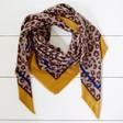 Lisa Angel Ladies' Personalised Mustard Border Leopard Print Blanket Scarf
